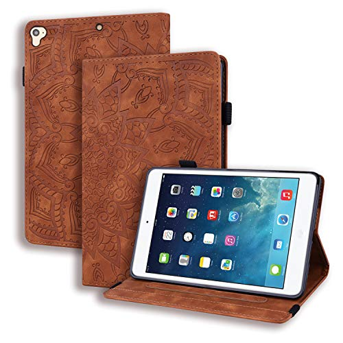 Coeyes Case Compatible for Tablet Samsung Galaxy Tab S4 10.5 Inch (2018) T830 T835 Flip Cover Leather Wallet with Card Holder Slot Silicone Bumper - Mandala Flower Brown