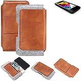 K-S-Trade® Schutz Hülle Für Mobistel Cynus E4 Gürteltasche Gürtel Tasche Schutzhülle Handy Smartphone Tasche Handyhülle PU + Filz, Braun (1x)
