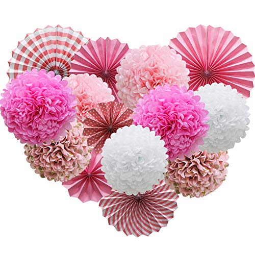 Pink Hanging Paper Party Decorations, Round Paper Fans Set Paper Pom Poms Flowers for Valentines Day Birthday Wedding Baby Shower Events Accessories