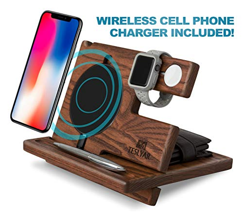 TESLYAR Wood Phone Docking Station Ash Key Holder Wallet Stand Watch Organizer Men Gift Husband Wireless Charging Pad Slim Birthday Nightstand Purse Tablet Compatible with All Qi Devices