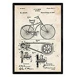 Nacnic Fahrrad-Plakat-Patent. Blatt mit altem Design-Patent in der Größe A3 und Vintage-Hintergrund