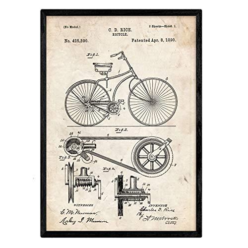 Nacnic Biciclette Poster Brevetto. Foglio con Il Vecchio Brevetto di Disegno in Formato A3 e Vintage Sfondo