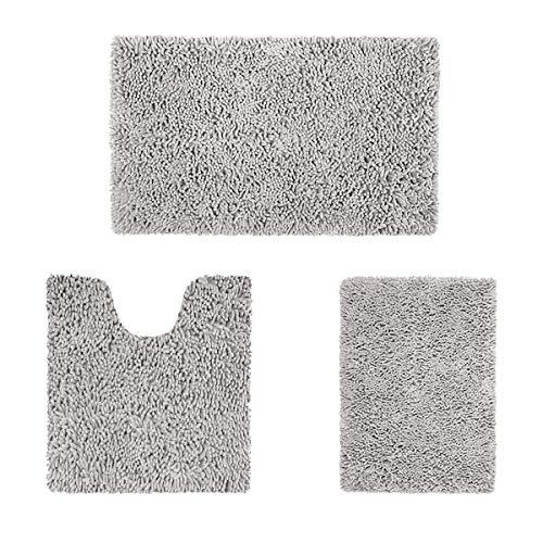 HOMEIDEAS 3 Teilig Badematten, Weiche Chenille Badezimmermatte Set, Maschinenwaschbare Badezimmerteppich, rutschfeste Badematte und Badteppiche für Badewanne, Dusche (Hellgrau)