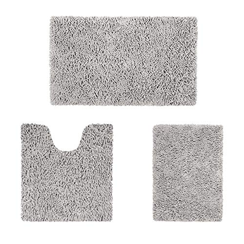 HOMEIDEAS 3 Pieces Bathroom Rugs Set Ultra Soft Non Slip and Absorbent Chenille Bath Rug, Light Grey Christmas Bathroom Rugs Plush Bath Mats for Tub, Shower, Bathroom