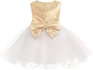 KINDOYO Baby Girls Dress - Baby Newborn Girls Bowknot Tulle Sleeveless Christening Birthday Party Cute Princess Dresses