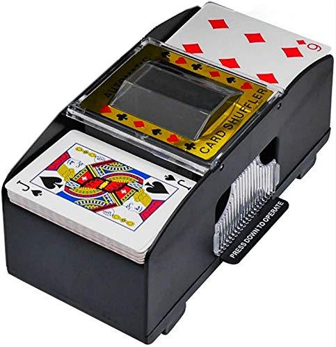 BUTIAN Barajador automático de cartas de póquer, 1-2 barajas de póquer baraja de cartas, barajadora eléctrica a pilas para juegos de club de fiesta en casa (negro)