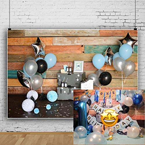 AOFOTO 7x5ft Boy 1st Birthday Backdrop Wood Plank Wall Room Interior Balloons Paper Flowers Decoration Photography Background Baby Kid First Bday Banner One Year Old Cake Smash Photo Studio Prop Vinyl