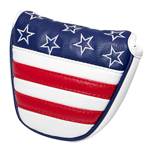 barudan golf Leather Star Stripe Magnetic Mallet Putter Cover Headcover Golf Club Head Cover Red White and Blue for Odyssey 2ball Red O Works Stroke Lab Taylormade Scotty Cameron