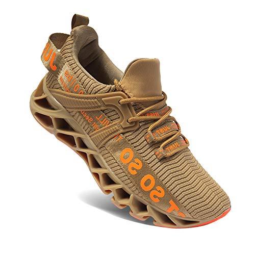 Wonesion Herren Schuhe Laufschuhe Herren Damen Sportschuhe Straßenlaufschuhe Sneaker Joggingschuhe Turnschuhe Walkingschuhe Traillauf Fitness Schuhe, 5-Gold, 41 EU