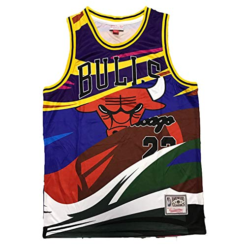 Bulls Jordan's Retro Jersey # 23 para hombre, 90S Sports Fan Hip Hop Shirt Sudadera de secado rápido, Arco Iris, S-M
