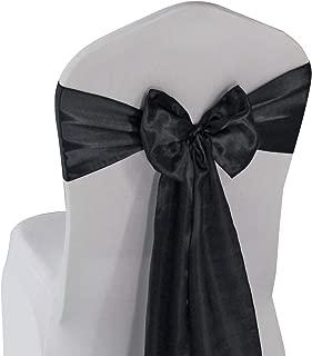 Black Satin Chair Sashes Bows - 50 pcs Wedding Banquet Party Event Decoration Chair Bows (Black, 50)