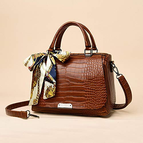 xzczxc Lady Luxury Oil Wax Leather Handbags Alligator Shoulder Bags Brand Tote Crossbody Bags 27 * 18 * 13Cm Brown