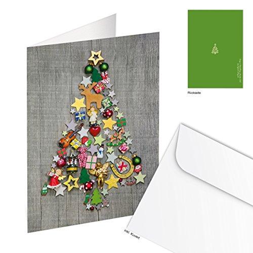 Logbuch-Verlag 20 julkort grå färgglada dekorerade med konvert hopfällbar tryckbara företagskunder företagskunder utan text