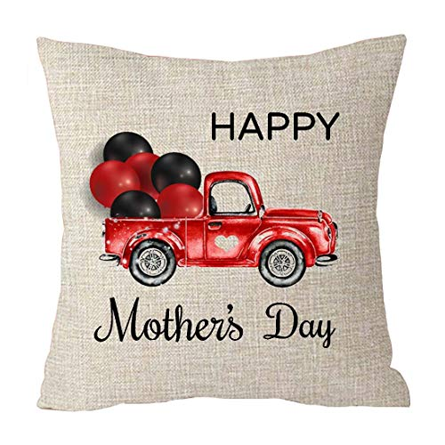Happy Mothers Day Car Balloon Love Shape Best Gift Cotton Linen Throw Patio Furniture Pillow Covers Cushion Cover Cover Couch Decorative Square 18x18 inch Decorative Pillow Family Birthday