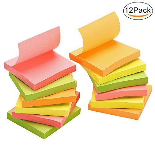 Assortiment de couleurs fluo Import Royaume Uni 127 x 76 mm Notes autocollantes Lot de 6 blocs//100 feuilles par bloc Snopake