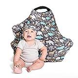 Cool Beans Baby Cubierta de asiento de coche y enfermería cubierta multiuso - tela suave y elástica fácilmente cubre sillas (zoológico)