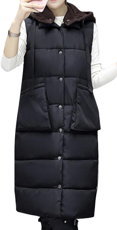 WAYAWomen Solid color Winter Plus Size Hoodie Sleeveless Puffer Vest