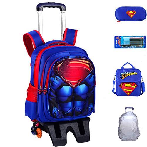 YeMao Zaino con Ruote per Bambini Super Hero, Borse da Scuola per Studenti elementari 6 Ruote per Ragazzi Carrello da Viaggio con Ruote,Superman-42 * 32 * 22CM