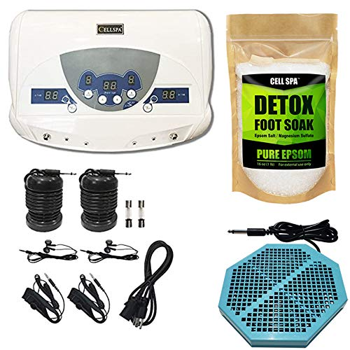 Cell Spa, Dual Ionic Ion Detox Aqua Foot Spa Chi Cleanse Machine with Mp3 Music Player With Twice Powerful CS-900 Array (UNSCENTED)