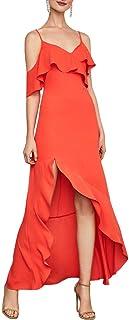 BCBG Max Azria Womens Ruffled High-Low Evening Dress