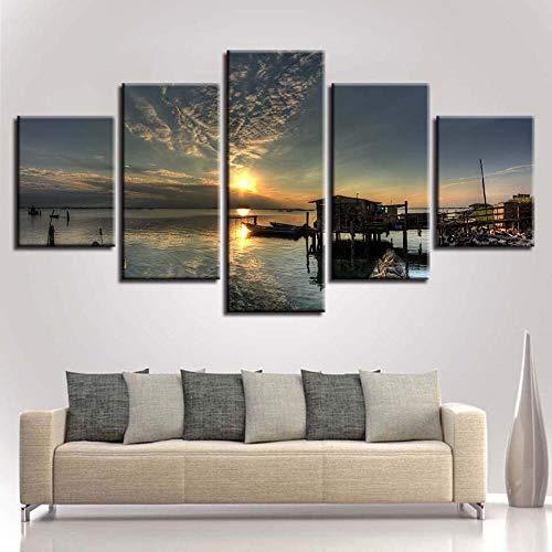 RoYderWick Lienzo HD Imprime imágenes decoración del hogar sin Marco 5 Piezas de Madera Playa Muelle casa Pintura Modular Puesta de Sol Paisaje Marino póster Arte de Pared