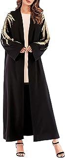 فستان رداء كبير مقاس كبير برباط فضفاض مطرز أنيق من دبي قفطان لمسلمين عباية وسط الشرق للسيدات (أسود XXL)