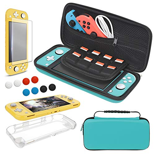 Carrying Case Plus TPU Case Cover and Screen Protector for Nintendo Switch Lite, 4 in 1 Accessories Kit, Portable Carrier Travel Bag Case Comes with 8 Game Card Slots for Switch Lite 2019