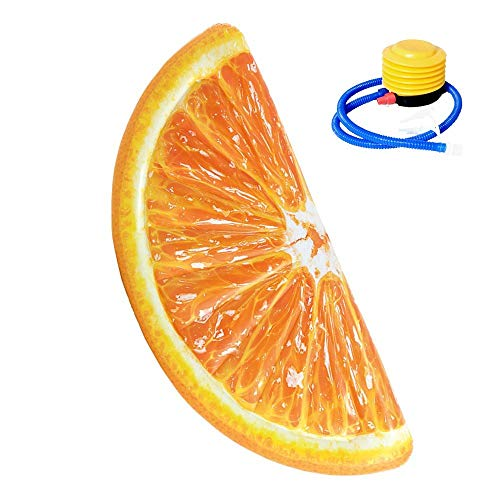 SXC Aufblasbarer Luftmatratze Schwimmring Pool Jumbo Aufblasbare Große Orange Gelbe Volle Runde Scheibe Fruit Lsland Beach Float Liege Schwimmbad Jumbo Air Mat Wassersport