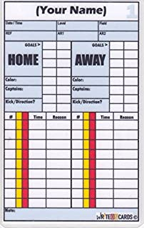Soccer Write-on Referee Cards, Personalized with Your Name. 2-Game Record Plus.