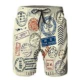 QUKEFU Costume da Bagno Uomo,Controllo documento di affrancatura Timbro d'Epoca Forma Antica approvare Bordo Bianco,3D Stampato da Bagno Asciugatura Rapida Costume Surf Pantaloncini S