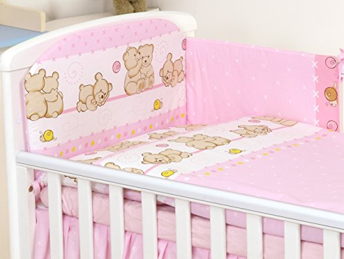 5 teilig Set Babybettwäsche-Set Baby Bett fur Kinderbett 120 x 60 cm Rosa Teddybären Nestchen Decke 120 x 90 cm Bettbezug Kissen Kissenbezug 40 x 60 100% Baumwolle Kinderbettwäsche