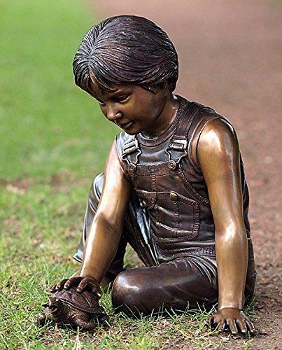 pompidu-living Wasserspeier Junge mit Schildkröte, Bronzeguss