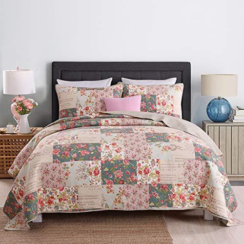 KAIANG Bettwäsche-Set aus ägyptischer Baumwolle, Landhaus-Blumenmuster, Tagesdecke, 3-teiliges Patchwork-Bettbezug-Set, Queen-Size-Größe
