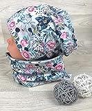 Beanie und Loop Set grau Blumen, Jersey Fleece Gr 40-54 Beanie kindermütze, mützen set Mädchen