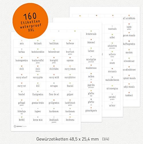 almira Design 160 Gewürzetiketten ECKIG weiß mit Herzen XXL-Set, Etiketten Gewürze, Kräuter, Sticker, 48,5 x 25,4 mm
