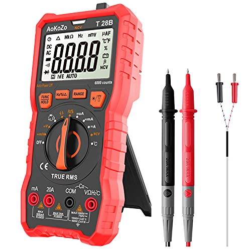 Multimetre Digital Profesional,AoKoZo T28B Automático Polimetro Digital 6000 Cuentas,TRUE RMS