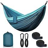 Hamaca de viaje doble ultraligera de nailon de paracaídas, portátil al aire libre, con mosquetones de calidad y correas | 300 x 200 cm, carga máxima 300 kg | para camping, senderismo o jardín (azul)