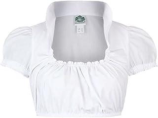 Hammerschmid Damen Dirndl Bluse Stehkragen kurzer Arm Weiss, Weiß,