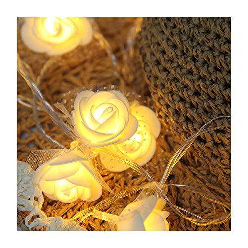 40 LED Blanc Rose Fleur Guirlande lumineuse Guirlande lumineuse intérieure par Millya, beige, 40 LED