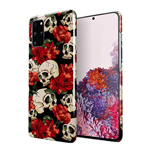 Grunge Skeleton Skulls Pattern Roses Wildflower Floral Hipster Plastic Phone Snap On Back Case Cover Shell Compatible with Samsung Galaxy S20 Plus