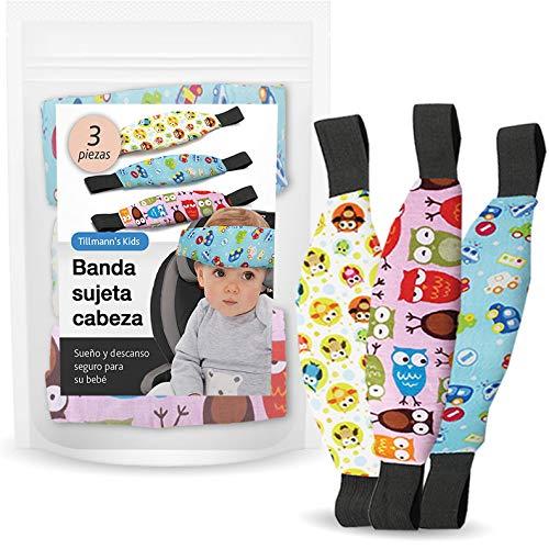 Sujeta Cabezas Coche Para Niños - ÚNICO Set Coche Bebé de 2+1 Soportes de Cabeza Para Silla Coche - Reposa Cabezas Niña y Niño