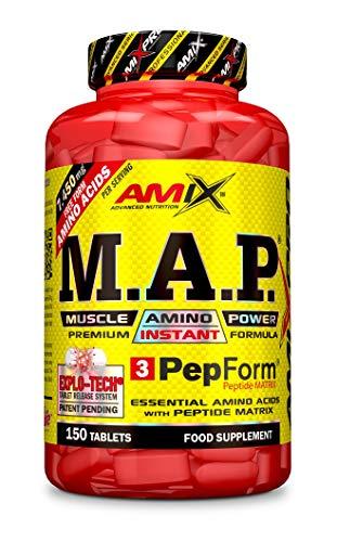 Amix M.A.P. Muscle Amino Acids Power + BCAA, Aminoácidos Esenciales Únicos en una Fórmula Altamente Purificada, 150 Tabletas