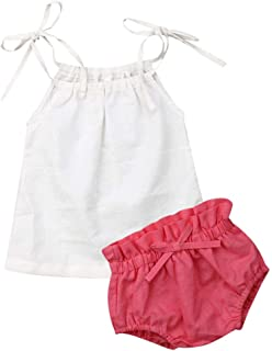 JBEELATE Newborn Baby Girl Summer Outfits Linen Solid Cami Tank Top Shorts Pants Infant Girl Clothes Set (6-12M, 80)