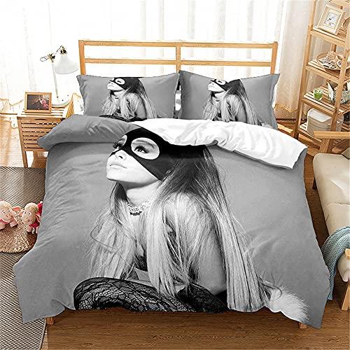 AZJMPKS Ariana Grande - Juego de ropa de cama de 3 piezas, funda nórdica y fundas de almohada, diseño 3D Ariana Grande, ropa de cama para niños y jóvenes (A6, 220 x 240 cm + 75 x 50 cm x 2)