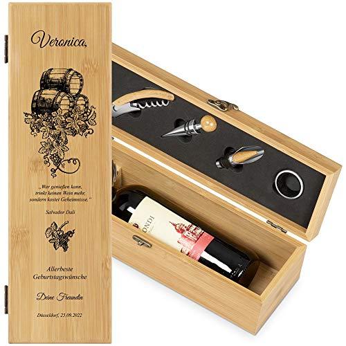 Murrano Weinbox für 0,7L Weinflasche - Wein Holzbox personalisiert + 4er Weinzubehör - Weinset Weinkiste - aus Bambus - Braun - Geschenk zum Geburtstag für Frauen - Weintraube