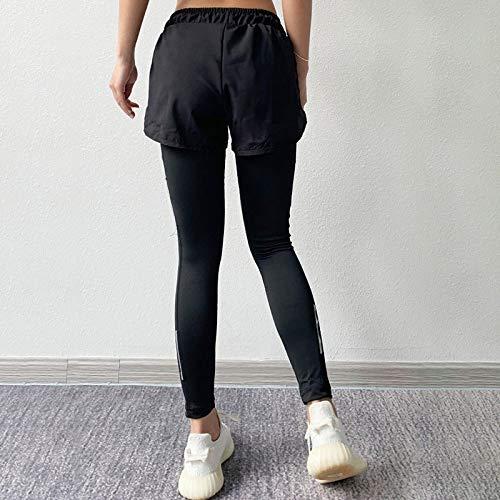 Leggings Casuales De MujerModa Mujer Leggings Solid Fitness Fake Two Push Up Tobillo Leggings De Nailon Leggins De Bolsi