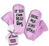 Calzini da vino 'If You Can Read This Bring Me Some Wine' con confezione regalo per cupcake divertenti calzini per gli amanti del vino