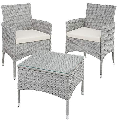 TecTake 800566 Poly Rattan Gartenset | 2 Stühle und Kleiner Tisch mit Glasplatte | Robustes Gestell aus Stahl - Diverse Farben - (Hellgrau | Nr. 403702)