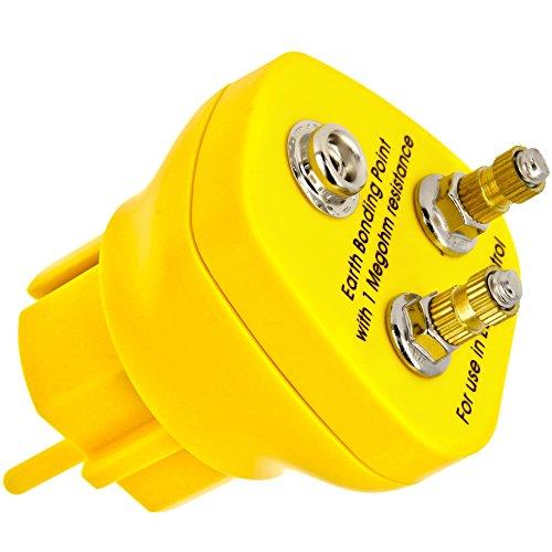 Minadax Erdungsbaustein - Innovativer ESD-Schutz - Antistatik-Erdungsstecker - 2 x M5 Ösenanschluss - 1 Megaohm Sicherheitswiderstand