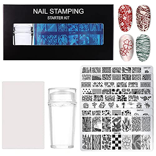 solawill 8 Pcs Nail Art Stamp, Nail Stamping Plate Nail Art Stamping Plates Set Nail Stamping Plate Modèle d'Image Nail Art plaques Stamping Manicure Dessin Cachet,pour Décoration Nail Stamp Outils